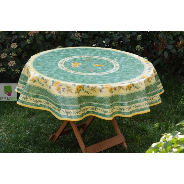 toile cir e ronde avec tournesols sur fond jaune et vert nappe toile cir e au m tre. Black Bedroom Furniture Sets. Home Design Ideas