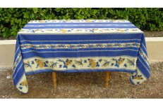 Nappe rectangulaireprovençal tournesols bleu