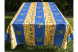 Nappe rectangle jaune et bleu, mimosas et citrons