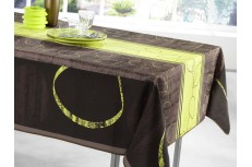 Nappe rectangle marron et anis vert