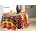 Nappe ronde motif rayures multicolors