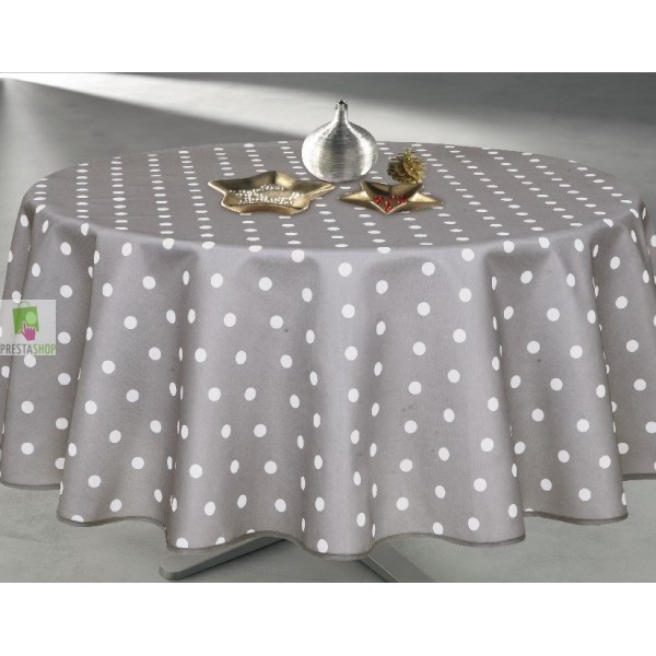 nappe ronde grise 224 pois