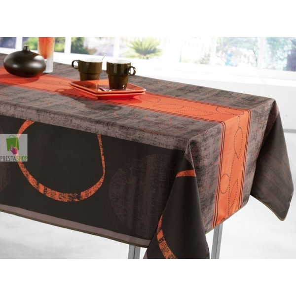 Nappe rectangulaire motif pointill t - Nappe rectangulaire grise ...