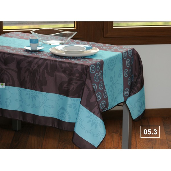 nappe rectangulaire motif fantaisie bleu turquoise. Black Bedroom Furniture Sets. Home Design Ideas
