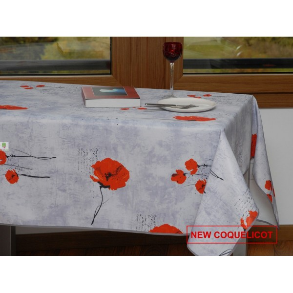 nappe rectangulaire motif coquelicot gris. Black Bedroom Furniture Sets. Home Design Ideas