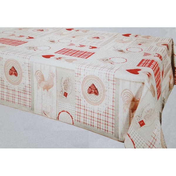 nappe poules rouge bull gomme nappe au bull gomme bull gomme au m tr. Black Bedroom Furniture Sets. Home Design Ideas