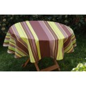 Nappe rectangle rayure marron-vert