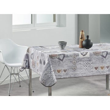 Nappe rectangulaire – Grise – Coeurs